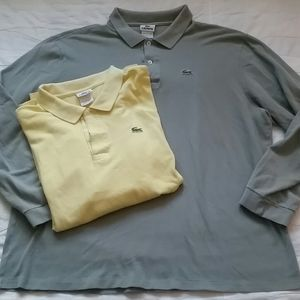 Lacoste 8 Pair XXL LS Polo Shirts Yellow Green